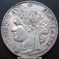 1870A 5 French Silver Francs (Liberty head)
