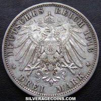 1913A Wilhelm II Prussian Silver 3 Marks (25 years of Reign)