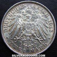 1913 A Wilhelm II Prussian Silver 2 Marks (25th year of Reign)