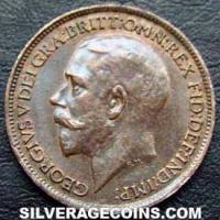 1924 George V British Bronze Farthing (type 2)
