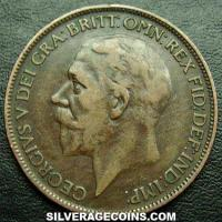 George V British Bronze Penny (modified effigy) (Obverse)