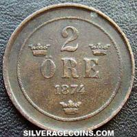 1875/74 Oscar II Swedish Bronze 2 Öre (small letters)