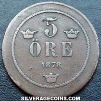 1881 Oscar II Swedish Bronze 5 Öre (small letters)