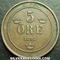 1891 Oscar II Swedish Bronze 5 Öre (large letters)