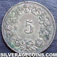 1851 BB Swiss Billon 5 Rappen