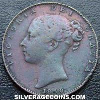 "Queen Victoria British ""Young Head"" Farthing (Obverse)"