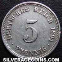 Common Proof Wilhelm II 5 Pfennig