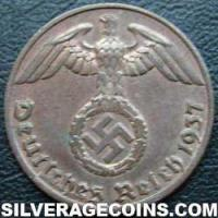 1940 J German Third Reich Bronze Reichspfennig