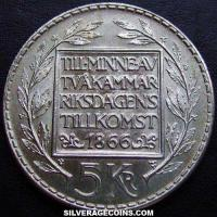Gustav VI Swedish Silver 5 Kronor (Constitution reform) (Reverse)