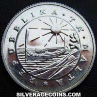 Malta 1 Silver Pound (departure of foreign forces) (Obverse)