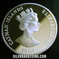 Cayman Islands Silver Proof Dollar (Queen Mother) (Obverse)
