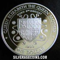 Cayman Islands Silver Proof Dollar (Queen Mother) (Reverse)
