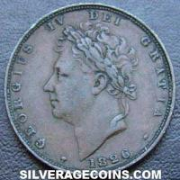 George IV British Bare Head Farthing (Obverse)