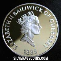 Guernsey Elizabeth II Silver Proof 5 Pounds (The Queen Mother) (Obverse)