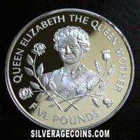 Guernsey Elizabeth II Silver Proof 5 Pounds (The Queen Mother) (Reverse)