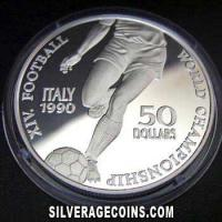 Niue 50 Dollars Silver Proof (Italy 1990 World Cup) (Reverse)