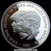 Elizabeth II Silver 25 Pence (Diana and Charles) (Reverse)