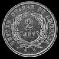 "2 Centavos ""Union Shield"" Estadounidenses de 1864 large motto"