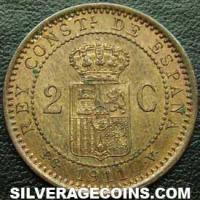 Alfonso XIII Spanish 2 Cents (Reverse)