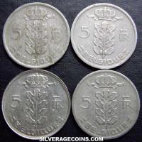 Lot of 4 Different Dates Belgian 5 Francs (Dutch, coin alignment) (Obverse)