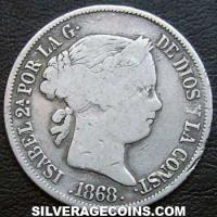 1865 Isabel II Philippines Silver 20 Centimos
