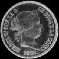 1868 Isabel II Philippines Silver 50 Centimos