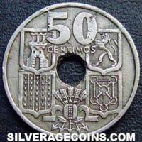 Franco Spanish 50 Cents (arrows downwards) (Reverse)