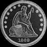 "United States ""Seated Liberty"" Silver Quarter Dollar (motto) (Obverse)"