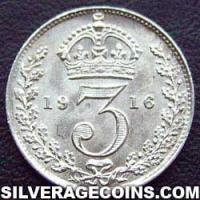 1911-1B George V British Silver Threepence (type 1)