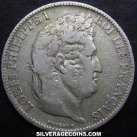 Louis Philippe 5 French Silver Francs (raised edge) (Obverse)