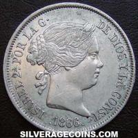Isabella II Spanish Silver 40 Cents (Obverse)