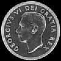 1952 3 lines George VI Canadian Silver Voyageur Dollar