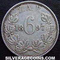 1893 South African ZAR Silver Sixpence