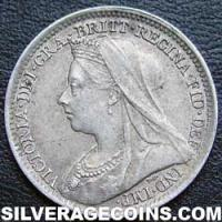 "1893-1A Queen Victoria British Silver ""Widow Head"" Threepence"