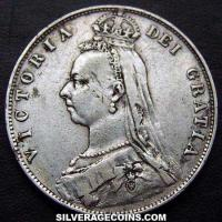 "1892 Queen Victoria British Silver ""Jubilee Head"" Half Crown"