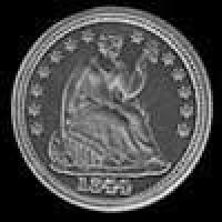 "United States ""Seated Liberty Half Dime"" Silver 5 Cents (drapery at elbow) (Obverse)"