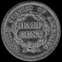 "1841 United States ""Braided Hair"" Half Cent"