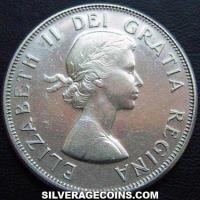Elizabeth II Canadian Silver 50 Cents (Obverse)
