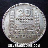 French Silver 20 Francs (Reverse)