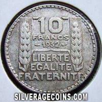 French Silver 10 Francs (Reverse)