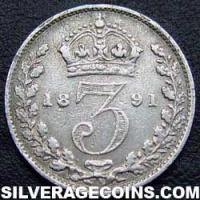 "1888 Queen Victoria British Silver ""Jubilee Head"" Threepence"