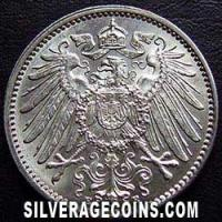Wilhelm II German Silver Mark (Reverse)