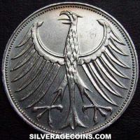 German Federal Republic Silver 5 Marks (Reverse)