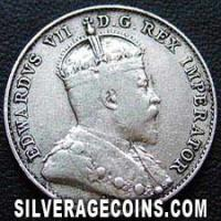 "Edward VII Canadian Silver ""Dime"" 10 cents (Obverse)"