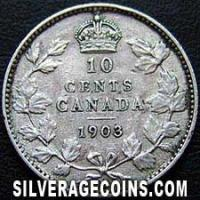 "Edward VII Canadian Silver ""Dime"" 10 cents (Reverse)"