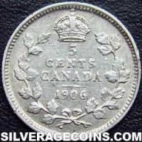 Edward VII Canadian Silver 5 cents (Reverse)