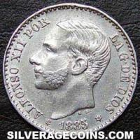 Alfonso XII Spanish Silver 50 Cents (Obverse)