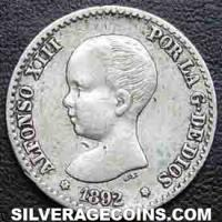 "Alfonso XIII ""Pelón"" Spanish Silver 50 Cents (Obverse)"