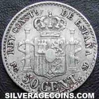 "Alfonso XIII ""Pelón"" Spanish Silver 50 Cents (Reverse)"