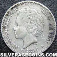 "Alfonso XIII ""Bucles"" Spanish Silver 50 Cents (Obverse)"